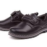 Туфли для мальчика черные на липучке, Смз, E1355, Тм EEB.B , Размеры 27, 28, 29, 30, 31, 32