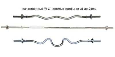 Гриф атлетический W- образный, прямой 25, 28мм. Гриф для штанги