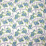 Ткань фланель, цвет белый в голубые розочки 2,95 х 0,78м
