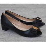 Туфли женские кожаная стелька черные на широком каблуке Anna