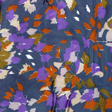 Ткань шелк темно-синий с фиолетовым с осенними листочками 100х92 см