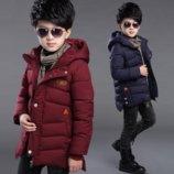Теплое пальто для мальчика на синтепоне осень-зима синее и бордо