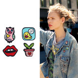 Набор значков на одежду 4 штук значок сова, губы и другие