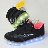 Детские подростковые светящиеся кроссовки с led подсветкой для девочки черные 28р-29р. Clibee 3465