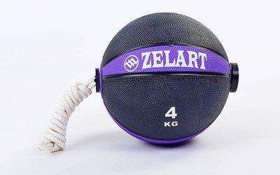 Мяч медицинский с веревкой медбол 4кг 5709-4 диаметр 21,6см, вес 4кг