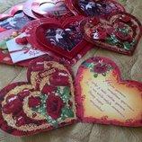 Валентинки открытки в виде сердечка в лоте 7 шт