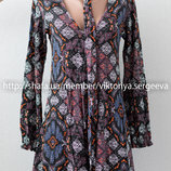 Стильный вискозный комбинезон, комбинезон-платье в принт с галстуком