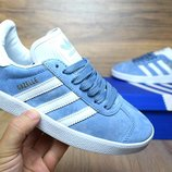 Кроссовки женские Adidas Gazelle blue, Топ качество