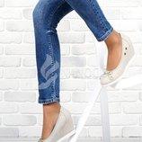 Туфли Vices кожаная стелька женские на танкетке серые 40 и 41 размеры