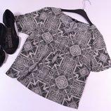 Укороченная шифоновая блуза с узором F&F