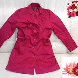 Элегантный малиновый плащ - пальто из натуральной ткани