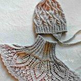 Комплект для девочки шапка, шарф/манишка