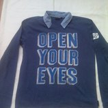 Пуловер- рубашка. р.M, L.