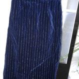 Элегантная синяя юбка из микровельвета с серибристими полосами англия