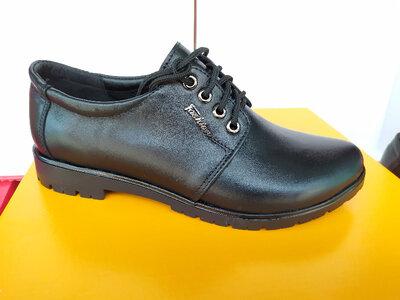 Туфли деми на низком ходу. Кожа. Черные, синие. Днепр
