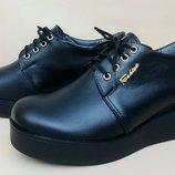 Молодежные кожаные туфли на платформе