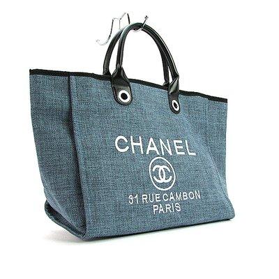 bf1c1363bedb Сумка женская большая текстильная синяя Chanel 93786: 1075 грн ...