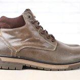 Ботинки мужские, зимние, кожаные, цвет - хаки, на шнурках, на меху