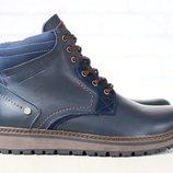 Ботинки мужские кожаные, зимние, на шнурках, синие, на меху Цена 1240 грн