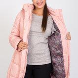Очень теплая зимняя куртка для беременных, цвет пудра в подарок лосины