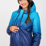 Двухсторонняя куртка для беременных, сине-аквамариновый купон темно-синий