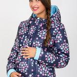 Двухсторонняя куртка для беременных, цветы на синем голубой