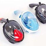 Маска с дыханием через нос для снорклинга Easybreath, 3 цвета силикон пластик, размер S-M/L-XL