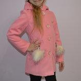 Красивое кашемировое пальто для принцессы рр.92-110 Розовое