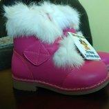 Зимние кожаные ботинки на овчине с мехом Шалунишка