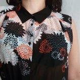 Красивая, фирменная шифоновая блуза с модной, удлиненной спинкой. р. 50-54