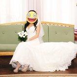 Свадебное платье с перчатками,цену снизила