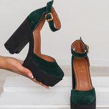 Туфли из натуральной кожи, замши на каблуке В наличии Новинка