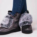 Ботинки на шнурках из натуральной кожи, замши на каблуке Новинка