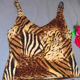 верх от купальника раздельного топ лиф бюст танкини майка чашка 85 В С леопардовая коричневый бежевы