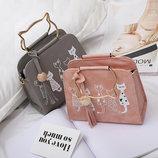 Каркасная сумка с ручками-котиками и принтом котов В Наличии
