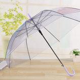 Большие силиконовые прозрачные зонты трость В Наличии