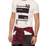 Белая мужская футболка LC Waikiki с надписью на груди No future