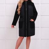 Легкое комбинированное пальто Нора р. 54, 56, 58, 60