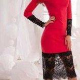Стильное красное платье с кружевом от issa. Турция xs- s,42-44.