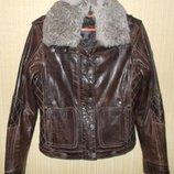 Утепленная стеганая кожаная куртка немецкого бренда gipsy. 100% кожа мех. 42-44.