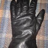 Кожаные перчатки с трикотажем, размер 7