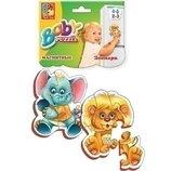 Пазлы магнитные Зоопарк набор 2 шт. слоник лев , пазлы для малышей