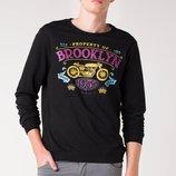 Черный мужской свитшот De Facto с надписью на груди Brooklyn