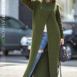 Кардиган длинный вязанное пальто