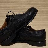Очень красивые формальные черные кожаные оксфорды броги Zara Испания 40 р.