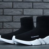 Кроссовки мужские Balenciaga Speed Runner Sock Black White. Баленсиага черные
