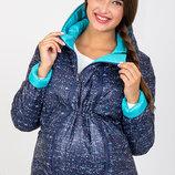 Короткая демисезонная двухсторонняя куртка для беременных, меланжевый принт