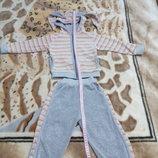 Велюровый спортивный костюм зайчик с ушками в полосочку 1 -2 года