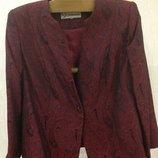 Пиджак collection на подкладе, бардово-красный с турецким орнаментом, 52 размер