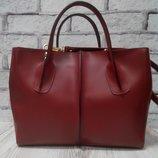 Стильная кожаная сумка натуральная кожа красная